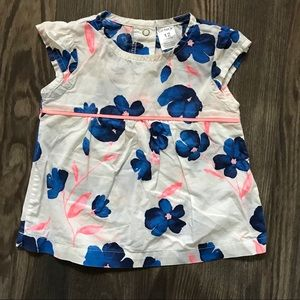 White and Blue Floral Pattern Blouse
